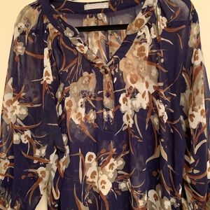 Sheer blue and natural floral top